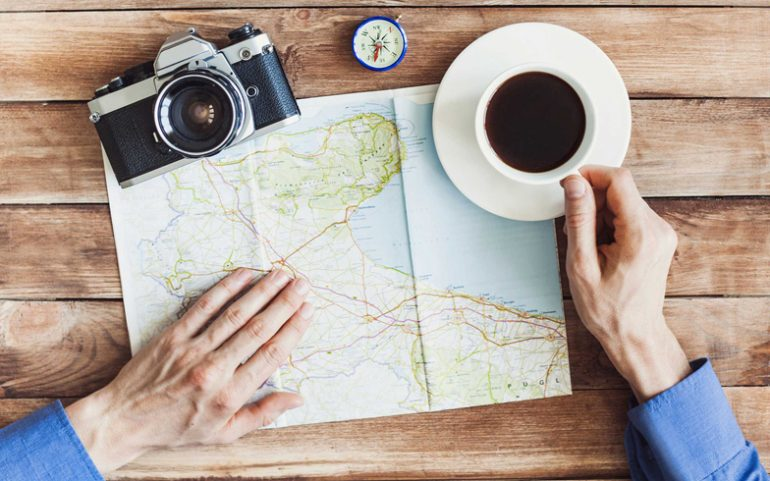 Coffee and map