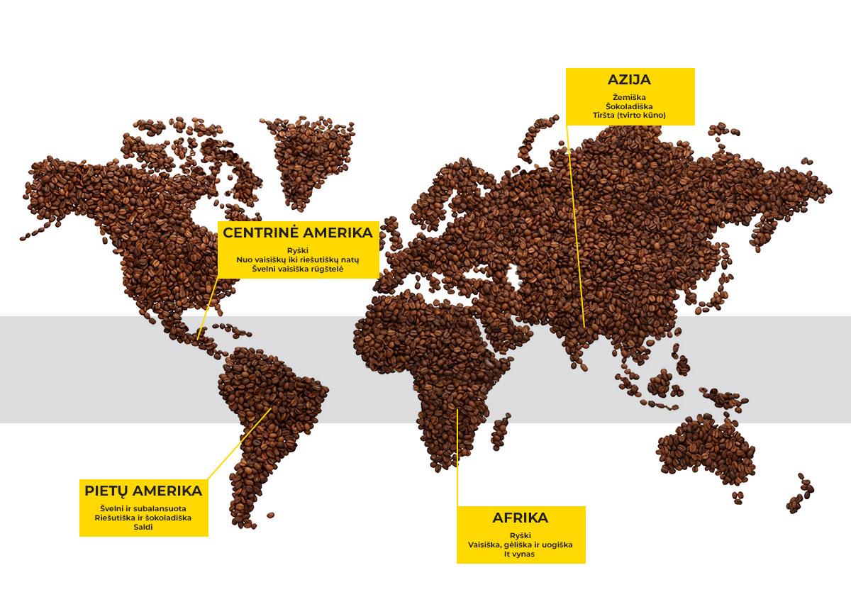 Kavos regionų žemėlapis